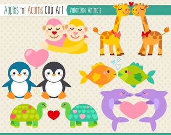 Valentine Animals Clip Art - color and outlines