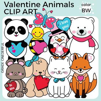 Valentine Animals Clipart, Valentine Friends, Valentine's Day Clipart