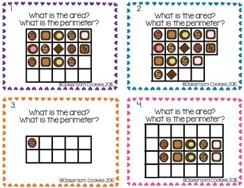 Area & Perimeter Chocolate Task Cards (Common Core Aligned) 3.MD.5ab & 3.MD.8