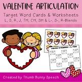 Valentine Articulation - Cards & Worksheets L, S, R, J, TH, CH, SH & Blends