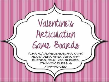 Valentine Articulation Game Boards