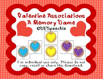 Valentine Associations - Memory Match Freebie