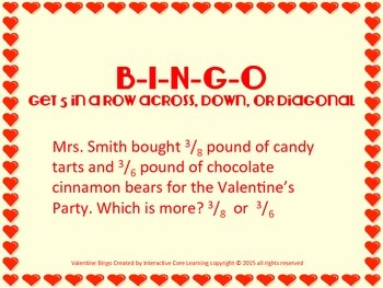 Valentine BINGO - Review Fractions - Tied to 4th-5th Common Core