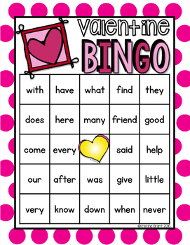 Valentine BINGO {sight words}