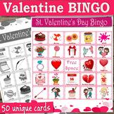 Valentine BINGO with 50 unique Valentine cards for a game