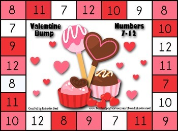 Valentine BUMP! Math Game - Numbers 1-6 and 7-12
