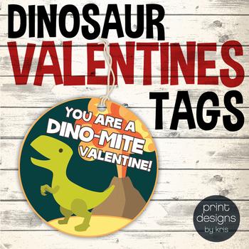 Valentine Badge - School Valentines Tag - Dinosaur Valentine Badge