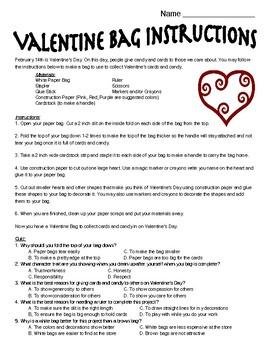 Valentine Bag Reading Comprehension
