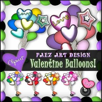 Valentine Balloons Clipart {Paez Art Design}