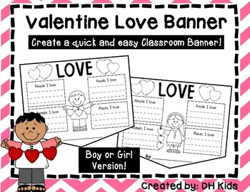 Valentine Banner - Love Banner - February Classroom Banner