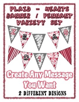 Valentine Banner Pennant Bundle - Plaid & Hearts - Write Any Message