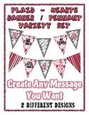 Valentine Banner Pennant Bundle - Plaid & Hearts - Write A