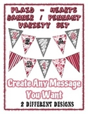 Valentine Banner Pennant Bundle - Plaid & Hearts - Write A