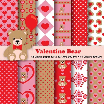 Valentine Bear Digital Paper