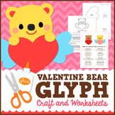 Valentine's Day Math Activity - Bear Glyph Craft with Worksheets