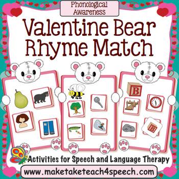 Valentine Bear Rhyme Match