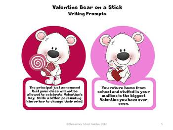 Valentine Bear on a Stick - Valentine's Day Writing Prompts and Stationary