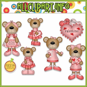 Valentine Bears 1 Clip Art - Alice Smith Clip Art