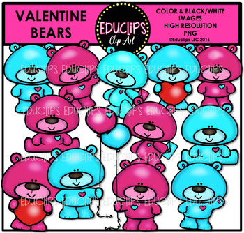 Valentine Bears Clip Art Bundle {Educlips Clipart}