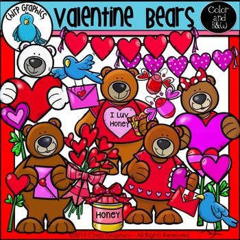 Valentine Bears Clip Art Set - Chirp Graphics