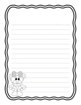 Valentine Bears Writing Papers - Black and White - 3 Styles