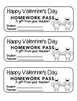 """Valentine"" Bee Couple - Homework Pass –Holiday FUN! (color & black line)"