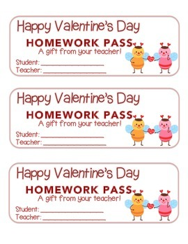 """""""Valentine"""" Bee Couple - Homework Pass – Holiday FUN! (full color version)"""
