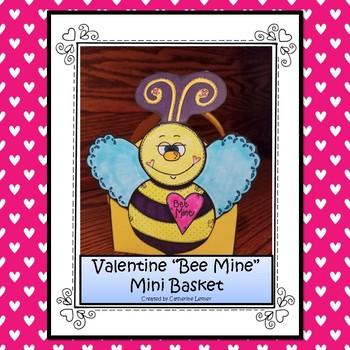 "Valentine ""Bee Mine"" Mini Basket"