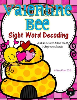 Valentine Bee Sight Word Decodable PrePrimer Dolch Literacy Center