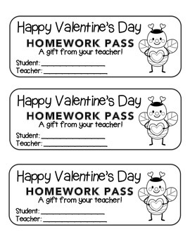 """Valentine"" Bee Standing - Homework Pass –Holiday FUN! (color & black line)"