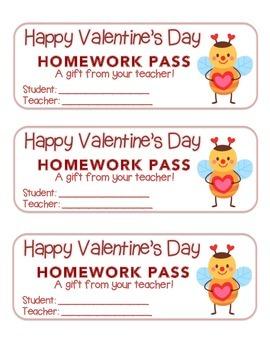 """Valentine"" Bee Standing - Homework Pass –Holiday FUN! (co"