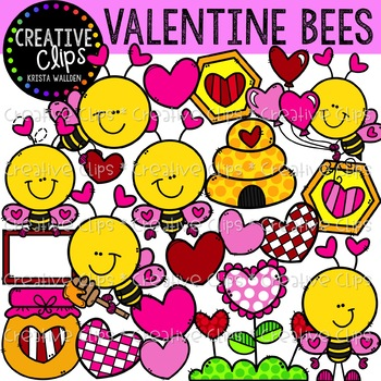 Valentine Bees: Valentine Clipart {Creative Clips Clipart}