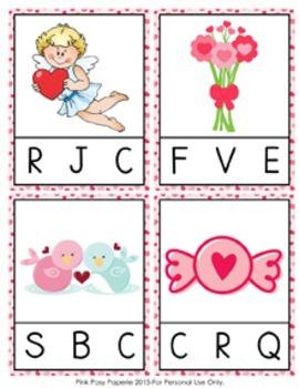 Valentine Beginning Sounds Clip Cards
