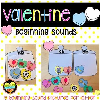 Valentine Beginning Sounds Sorting Center