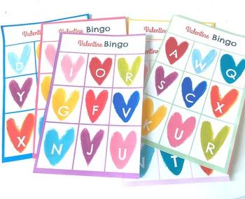 Valentine Bingo Game Alphabet Practice