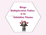 Valentine Bingo Game Multiplication Tables 0-10
