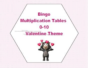Valentine Bingo Game Multiplication Tables 0-10