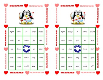 Valentine Bingo Game- Sight Words for Grade 2