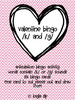 Valentine Bingo: /k/ and /g/