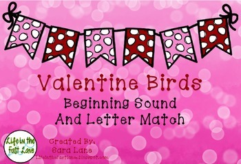 Valentine Birds Beginning Sound Match