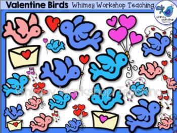 Valentine Birds Clip Art - Whimsy Workshop Teaching