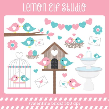 Valentine Birds-Digital Clipart (LES.CL21A)