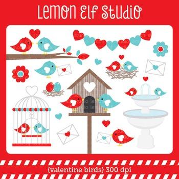 Valentine Birds-Digital Clipart (LES.CL21B)