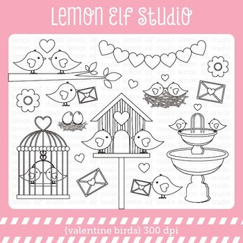 Valentine Birds-Digital Stamp (LES.DS21)