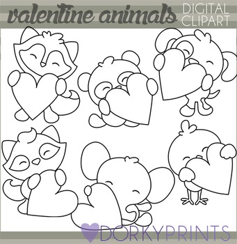Valentine Blackline Clip Art Animals Holding Hearts