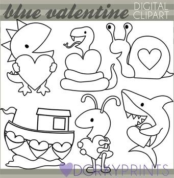 Valentine Blackline Clip Art - Shark Dinosaur, Snake Valentines