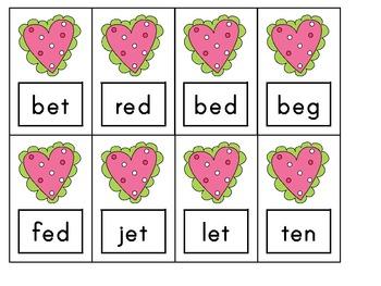 Valentine Blending Game- CVC, CCVC, CVCC