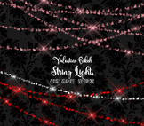 Valentine Bokeh String Lights clipart, sparkling heart valentines day overlays