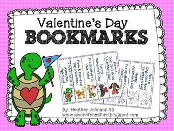Valentine Bookmarks Cute Animals