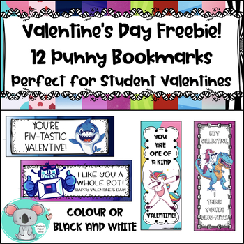 Valentine Bookmarks: Punny Valentines For Students FREEBIE